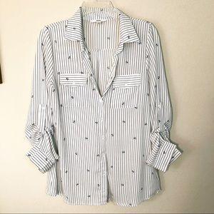 Papaya | Long sleeve button up blouse anchor print